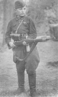 WWII B&W Photo Young Russian Soldier with Mauser Rifle WW2 World War Two  / 1108