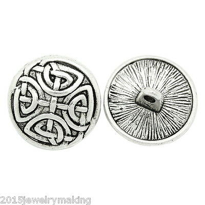 G0 30PCs Metal Pattern Sewing Buttons Silver Tone Round 17mm