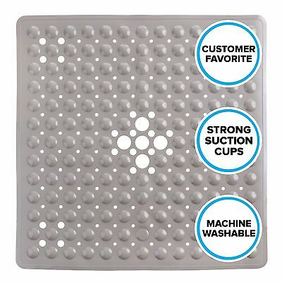 Tan Non-Slip Shower Mat with Drain Holes: SlipX Solutions Square Shower Mat