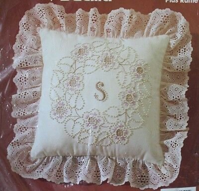 NEW Bucilla CandleWicking Monogram Pillow Kit Lace Embroidery Shabby Chic Decor