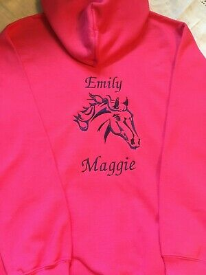 Personalised Embroidered Riding/Equestrian Horse/pony head Hoody. Adults/childs
