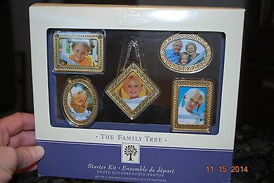 2004 Hallmark Family Tree Gold Frame Photo Holder Starter Kit Keepsake Ornaments
