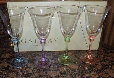 Galway Irish Crystal 4 X Liberty  White Wine Goblet  Glasses Multi Stems