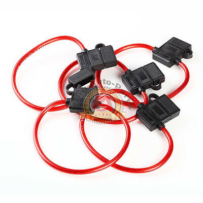 5x 10 Gauge ATC In-Line Fuse Holder w/Covers Autocar Clear Transparent Red Cable