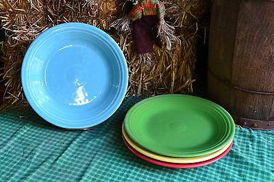 4 DINNER PLATES set lot shamrock sunflower turquoise HOMER LAUGHLIN FIESTA WARE