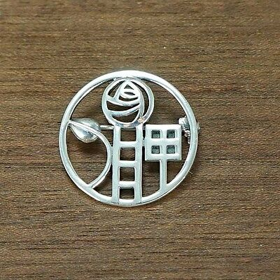 Art Nouveau Inspired Stylised MacIntosh Rose Sterling Silver 925  Brooch Pin