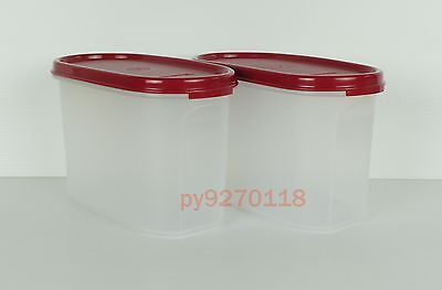 Tupperware Modular Mates Oval II with Cranberry Seal (2 pcs) + Free Shipping