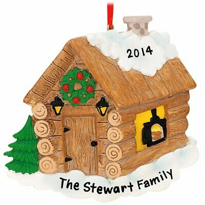 Log Cabin Personalized Christmas Tree Ornament