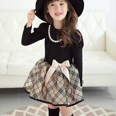 Toddler Baby Girls Kids Clothes Long Sleeve Party Plaid Tops T-Shirt Dress BGO