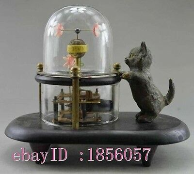 18.4 cm */Decorative old cat hand-carved bronze fish can use mechanical clock
