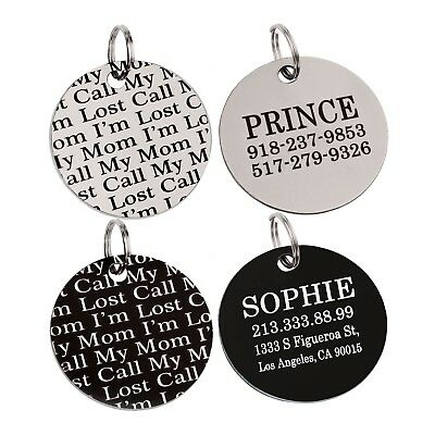 Dog Tag Personalized Pet ID Name Custom Laser Engraved Stainless Steel Puppy