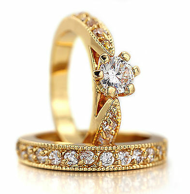 18K White Yellow Gold Gf Victorian Ct Diamond Engagement Wedding Ring Bridal Set