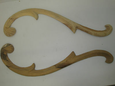 Decorative Hand Carved Pine  Wooden large ARCHED RAILS pair (734)