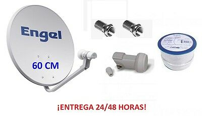 Antena Parabolica Engel 60 Cm + Lnb + Cable Satelite Coaxial 20 M Wifikit602
