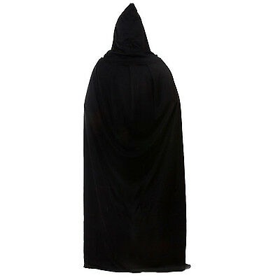 Black Halloween Costume Theater Prop Death Hoody Cloak Devil Long Tippet Cape BE