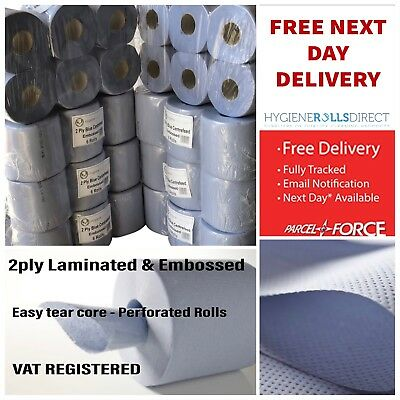 48 Rolls (8 PACKS)ACT Blue Centre feed Rolls Embossed 2ply Wiper Paper Towel 45M
