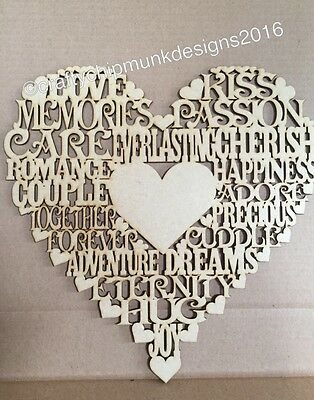 Heart With More Words 150x150mm Mdf wooden