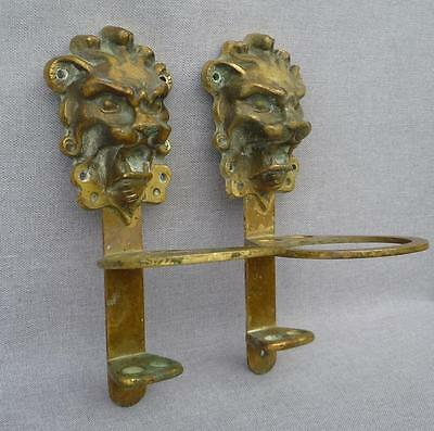 Vintage french pair of hooks cup tooth brush holder bronze early 1900's lions
