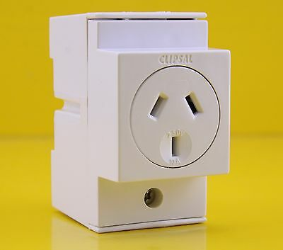 Clipsal 4PSO10D Automatic Switch Socket Outlet 250VAC 10A 2P DIN Rail Mount