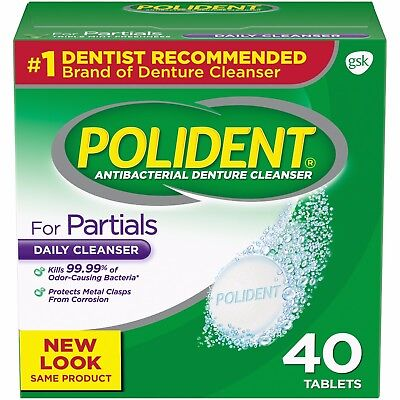 Polident for Partials Antibacterial Denture Cleanser Tablets, 40 count
