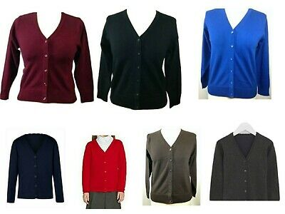 Ex M&s V Neck School Girls Cotton Rich Long Sleeve Cardigan Black Blue Brown