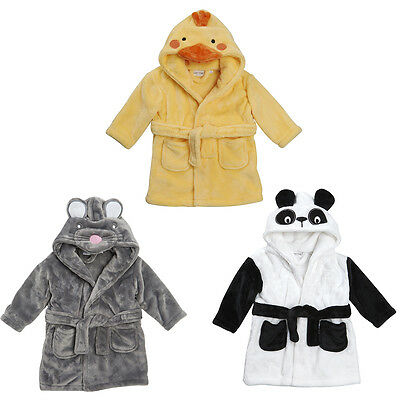 NOVELTY duck mouse panda Embroidered Personalised  Baby Dressing Gown Bath Robe