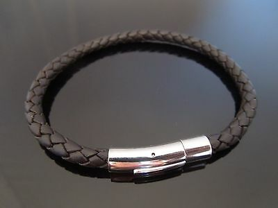 "5mm Brown Braided Leather & Stainless Steel Bracelet ~ 8"" 9"" 10"" ~ Choose Length"