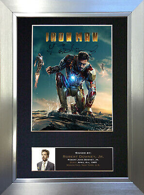 IRON MAN Robert Downey Jr Signed Autograph Mounted Reproduction Photo A4 no587