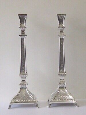 925 Sterling Silver Handcrafted Chased Ornate Square Candlesticks