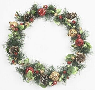 Gisela Graham Christmas Sequined Fruit/ Fir / Cone Large Wreath