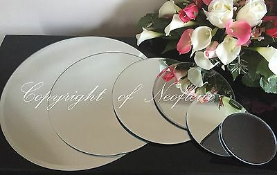 Round Bevelled Edge Mirror Glass Candle Plate Wedding Centrepiece   ALL SIZES