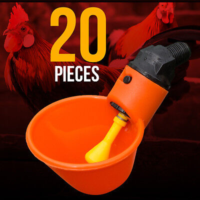 20 Chicken Drinker Cups automatic float poultry water drink cup coop system USA