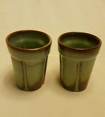 Frankoma Pottery 90C Juice Cup Set of 2 Prairie Green Art Dinnerware