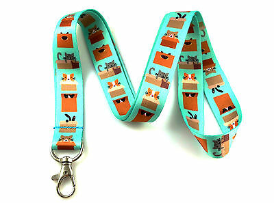 Cute Cats in Boxes Print Lanyard Key Chain Id Badge Holder