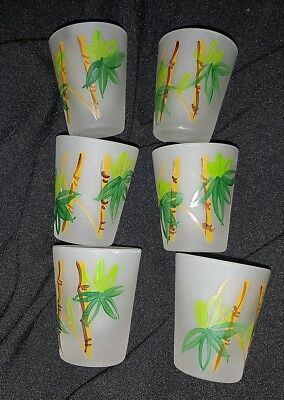 6 HAZEL ATLAS GAY FAD FROSTED SHOT GLASSES TUMBLERS Bamboo Shoots TIKI