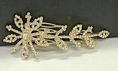 Bridal Party Flower Leaf Hair Comb in Gold Colour with Shining Rhinestones