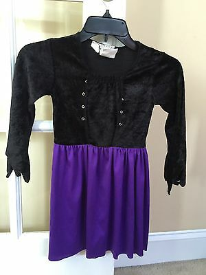 Girls Purple And Black Witch Costume In Size Small 4-6