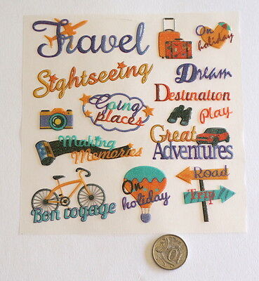 Scrapbooking No 331 - 15 Small To Medium Travel Glitter Saying Stickers