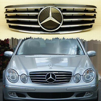 2003~2006 Piano Black Front Grille For Mercedes-Benz W211 E-Class 5 Fin