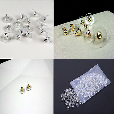 50Pcs Lot Silicon Earring Backs Stopper Jewelry Findings Allergy Free 2 Colors