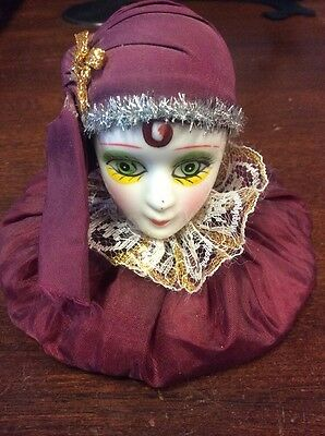 """Harlequin Gypsy Porcelain Head 3 1/2"""" Tall - Pre Owned"""