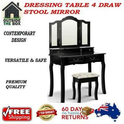 Dressing Table 4 Draw Stool Mirror New Chest Cabinet Bedroom Dresser Work Desk