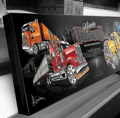 Kenworth Mack Truck Road Train  Stretched Canvas Ready To Hang