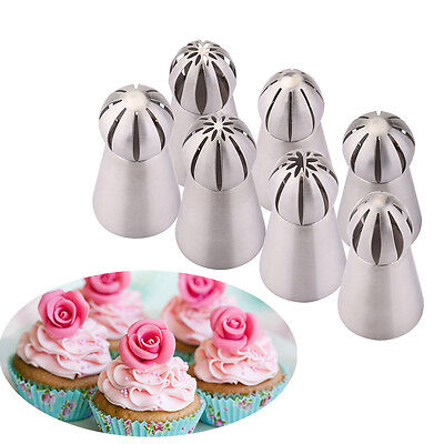 7PCS Russian Flower Cake Decorating Icing Piping Nozzles Tips Pastry Baking Tool