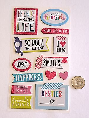 SCRAPBOOKING NO 329 - 13 SMALL to MEDIUM CHIPBOARD FRIENDS SAYING STICKERS
