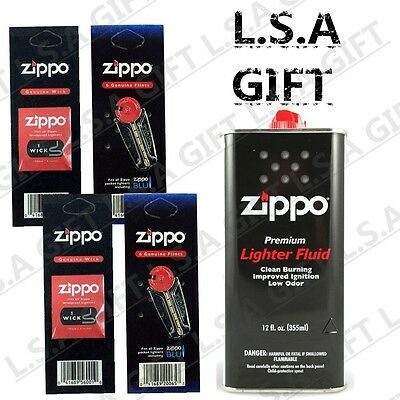 Zippo Fluid 12 fl.oz Can Fuel and 12 Flints & 2 Wick Value Pack Combo Gift Set