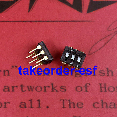 5Pcs 2.54mm Pitch 3 Position IC Type DIP Switch Black