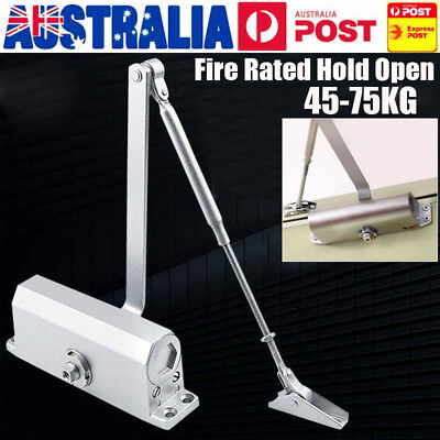 Heavy Duty Adjustable Fire Rated Hold Open Silver Door Closer Suits 60~80Kg AU