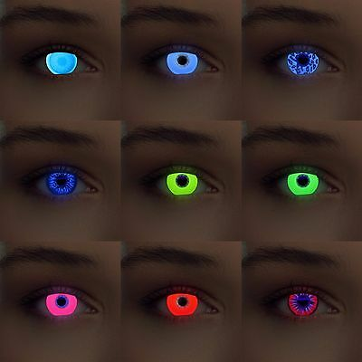 Crazy Halloween UV Glow Costume Party Fun Scary Lenses Lentilles Linsen