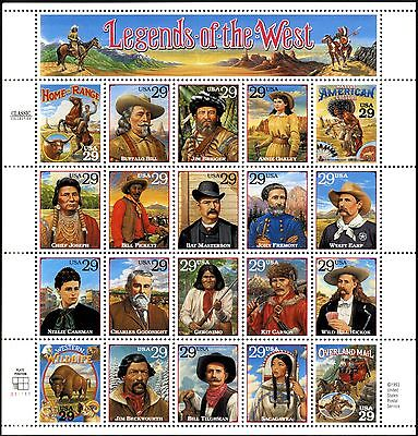 U. S. A. - SG 2950a - 1994 - Legends of the West Set of 20 - Unmounted Mint/MNH